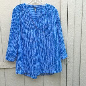 Maurices Large Blue Chevron Pullover Blouse Light
